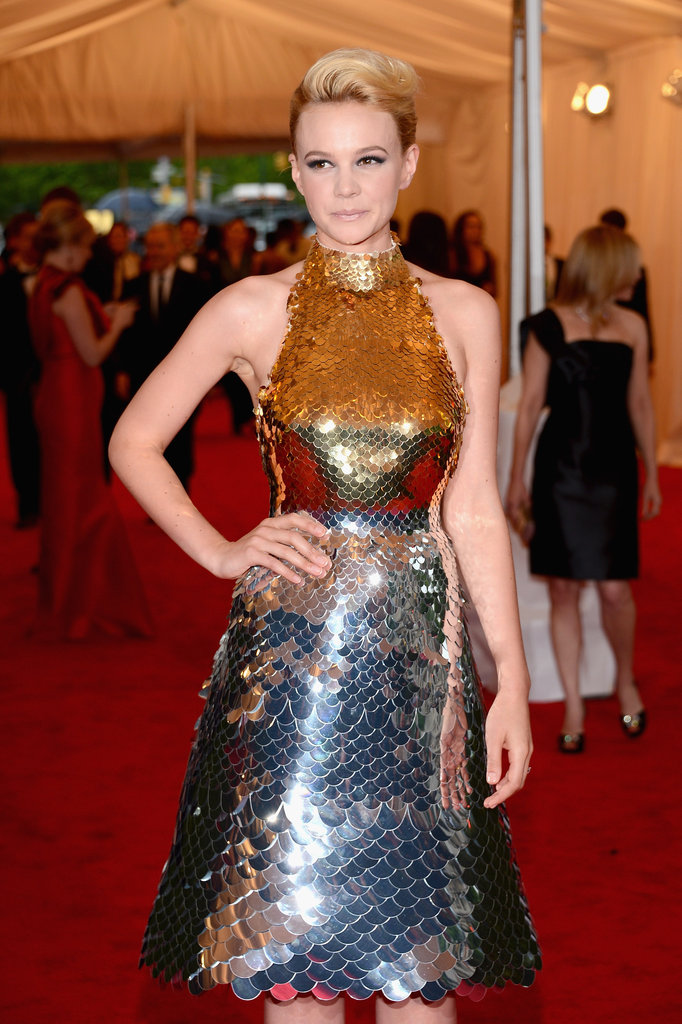 Carey Mulligan showed off her wedding ring at the Met Gala wearing a bespoke Prada dress.