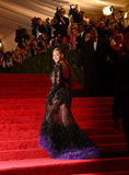 Beyoncé Knowles's dress made a dramatic climb up the stairs.
