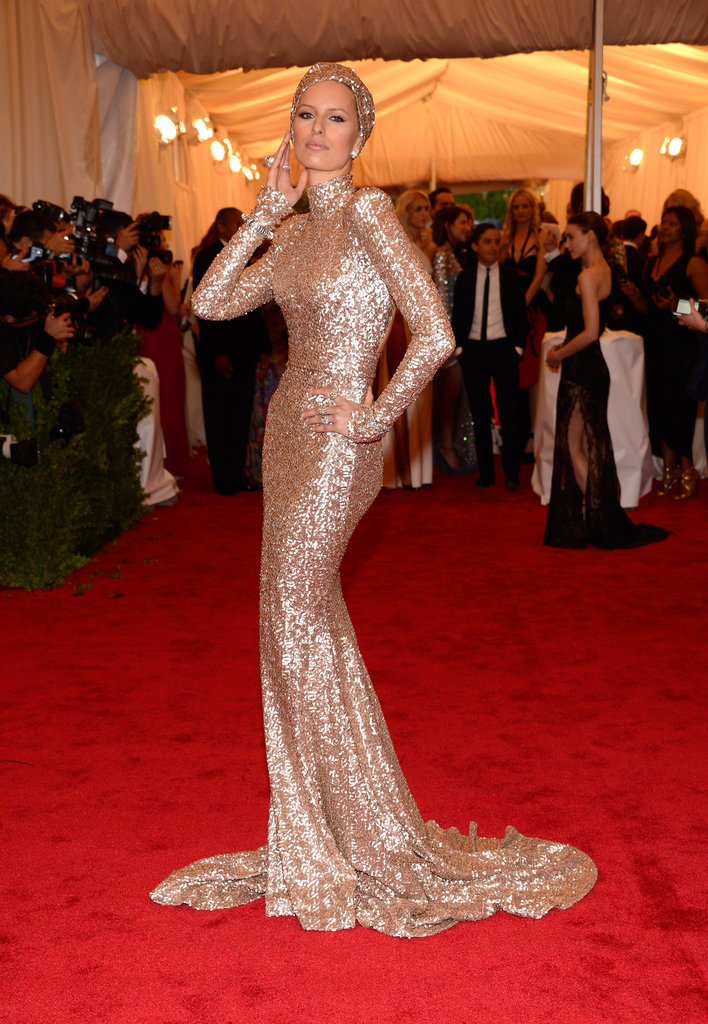 Karolina Kurkova struck a pose in Rachel Zoe at the Met Gala.