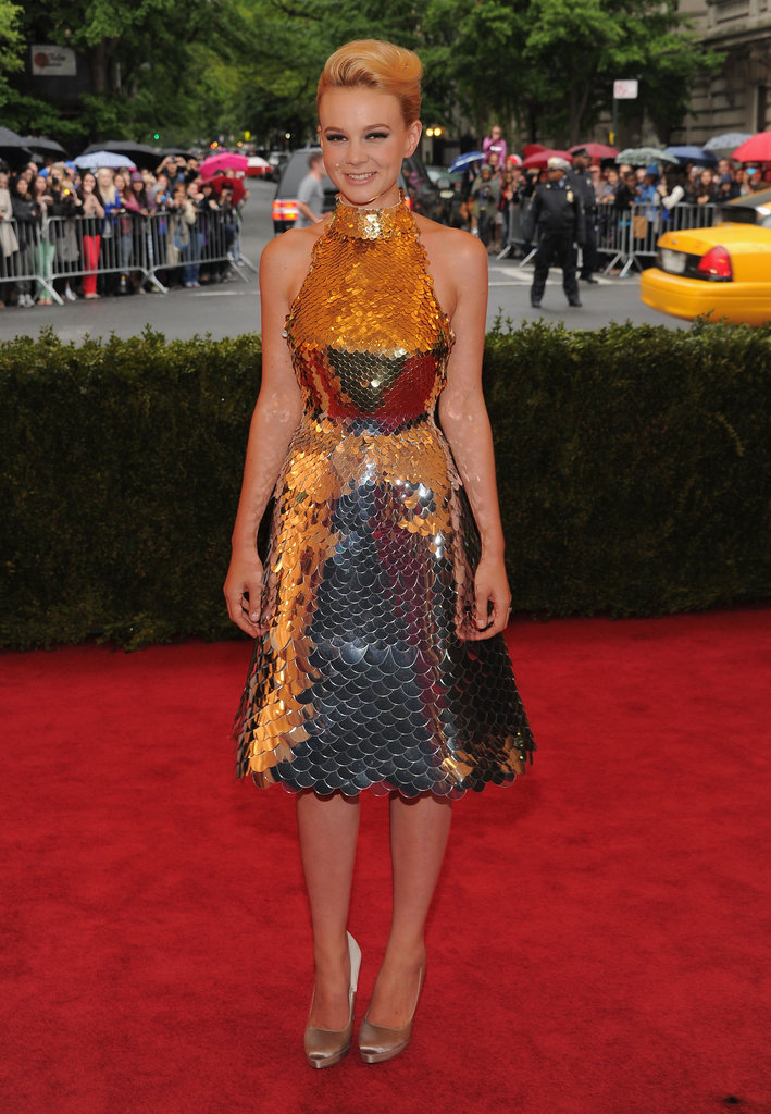 Carey Mulligan stepped onto the red carpet at the Met Gala wearing a sparkling Prada number.