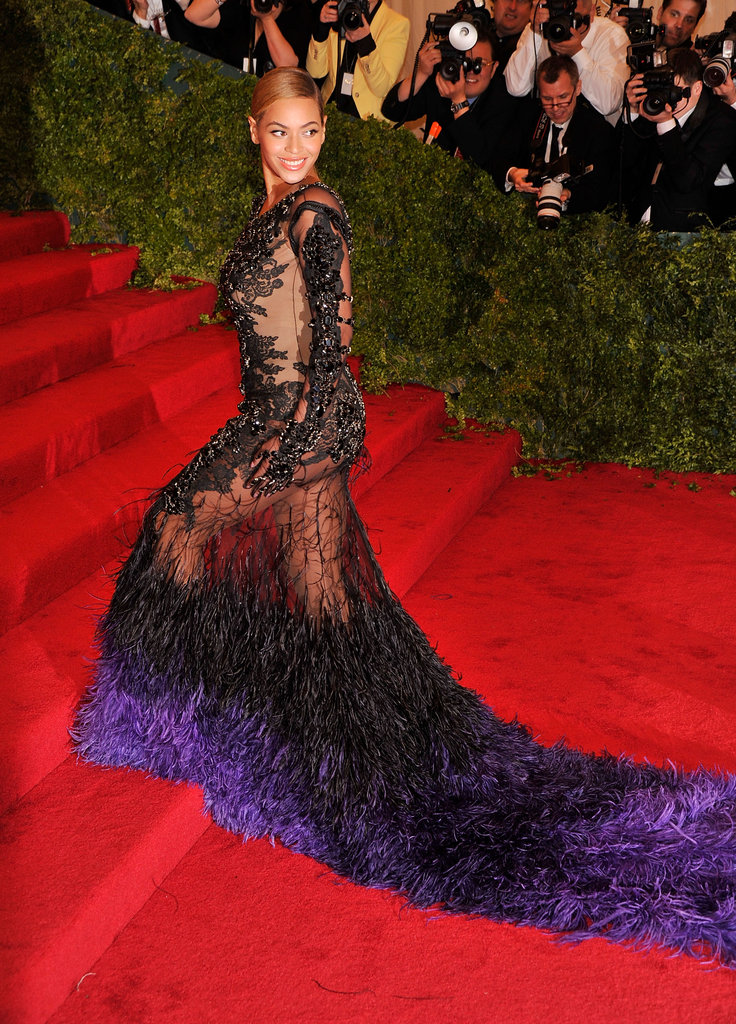 Beyoncé Knowles's sheer dress was even more exposed on the stairs at the Met Gala.