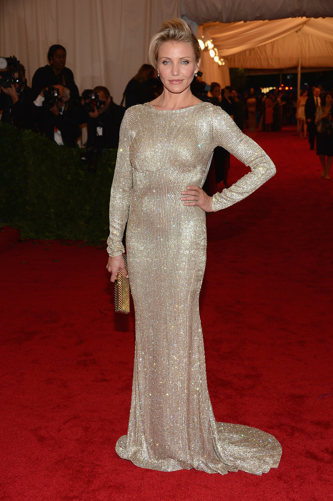 Cameron Diaz showed off her beaded Stella McCartney at the Met Gala.