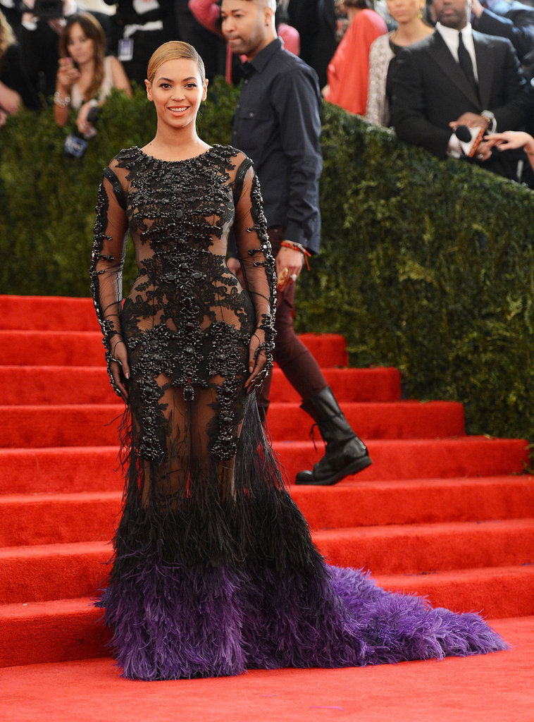 Beyoncé Knowles was dressed in a Givenchy gown with feathers for the Met Gala.