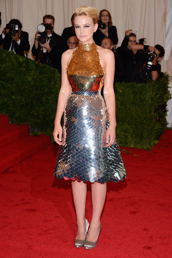 Carey Mulligan arrived at the Met Gala wearing Prada.