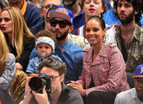 Alicia Keys and Swizz Beatz kept their eyes on the court.