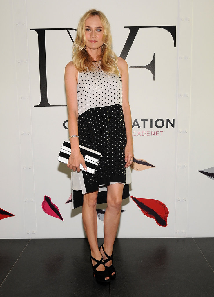 Diane Kruger showed off a sweet polka-dot print DVF dress and a coordinating black-and-white Prada clutch.