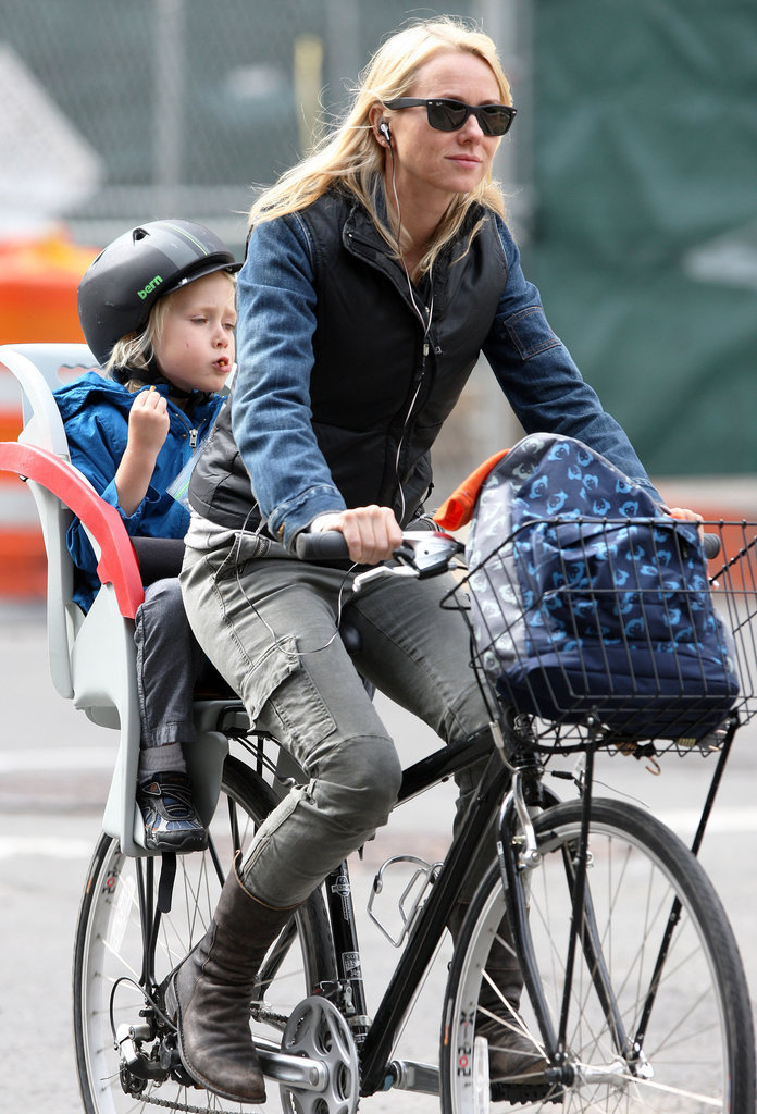 For a bike ride around NYC, Naomi Watts wore J Brand's Houlihan jean with a leather-and-denim jacket.