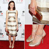 Alexis Bledel Metallic Dress at Lucille Lortel Awards
