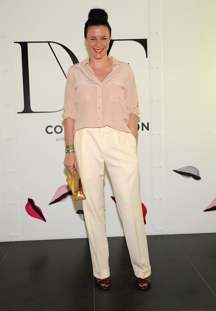 Garance Doré chose a pale pink blouse and crisp white trousers.
