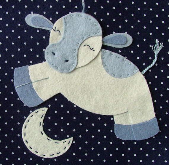 "Jen G. Baby ""Cow Jumped Over the Moon"" Wall Art ($35)"
