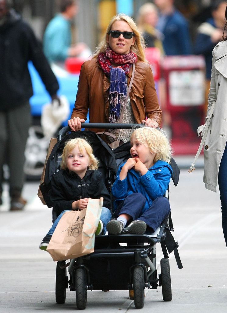Naomi Watts had her hands full while pushing sons Sasha and Kai Schreiber through NYC in May 2012.
