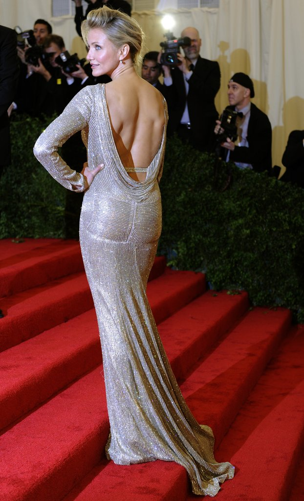 Cameron Diaz wore a long beaded Stella McCartney gown on the stairs of the Met Gala.
