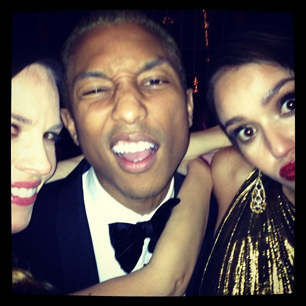Jessica Alba took silly photos with Hilary Swank and Pharrell Williams at the Met Gala.  Source: Instagram user therealjessicaalba