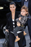 Kourtney Kardashian held tight to her little boy, Mason Dash Disick, while out running errands in NYC in October 2011.