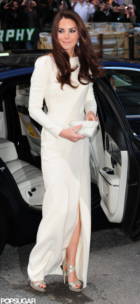 Kate Middleton arrived at Claridge's in London wearing a Roland Mouret gown.