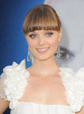 Bella Heathcote looked sweet in a white dress with ruffled straps for the Dark Shadows premiere in LA.