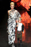 Gwen Stefani and her eldest son, Kingston Rossdale, walked the runway hand in hand during her NYC L.A.M.B. fashion show in February 2011.