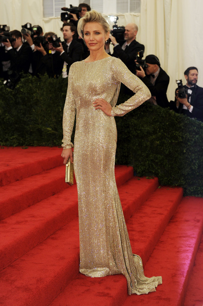 Cameron Diaz stood on the stairs of the Met Gala in a Stella McCartney gown.