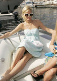 Paris Hilton bobbed in the waves while at the Monaco Grand Prix in Monte Carlo during May 2005.