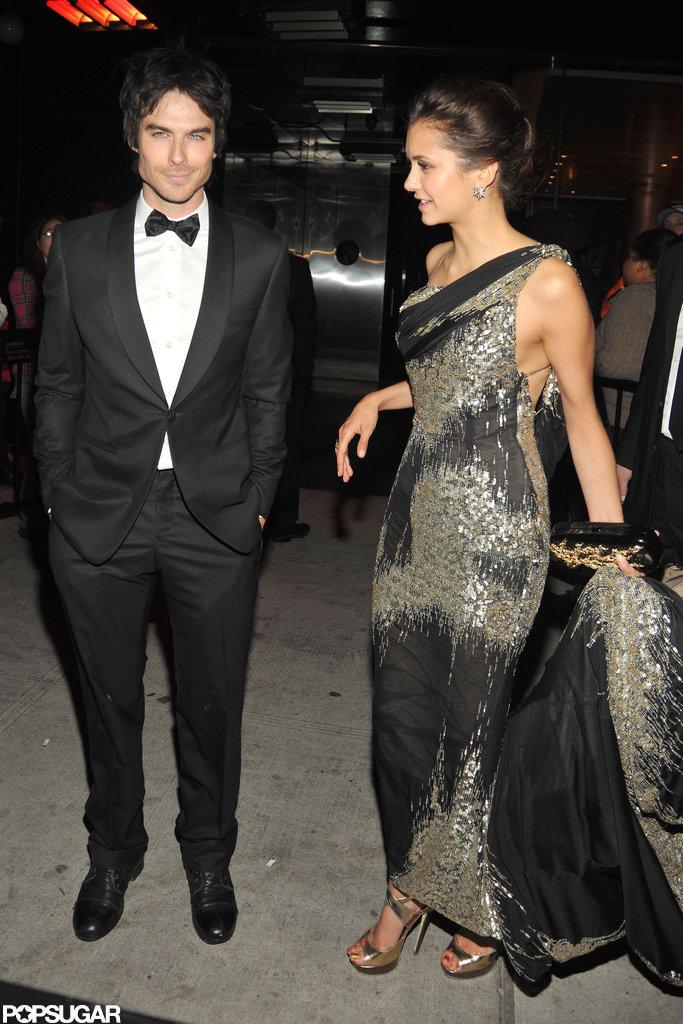 Nina Dobrev and Ian Somerhalder arrived at the Met Gala after party together.