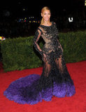 Beyoncé Knowles looked stunning as she posed at the Met Gala in a Givenchy dress.