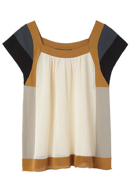 This knit top would look great with high-waisted flared denim and wedges.  Proenza Schouler Blocked Knit Top ($625)