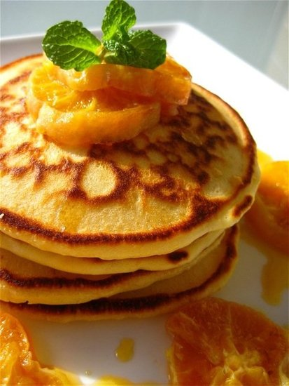 Orange Ricotta Flaxseed Pancakes