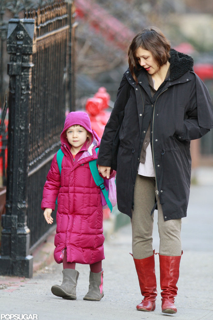 Maggie Gyllenhaal and her daughter, Ramona Sarsgaard, bundled up for a chilly morning walk in January 2012.