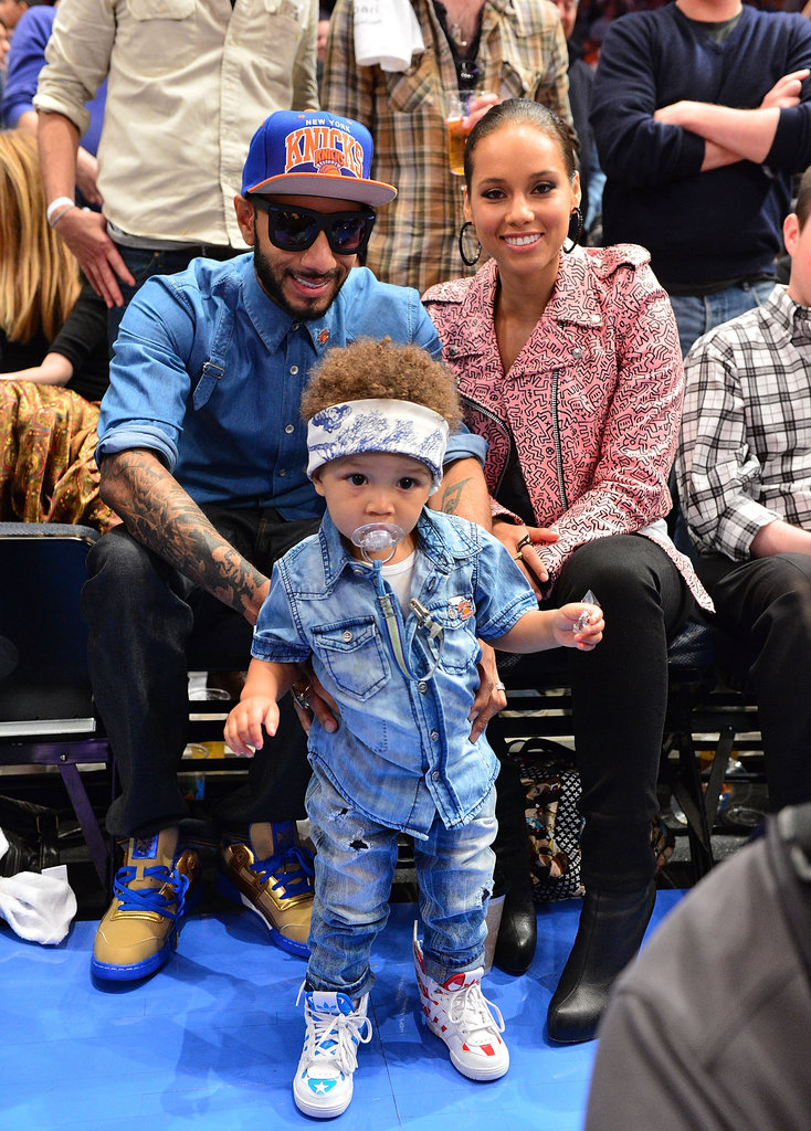 Alicia Keys and Swizz Beatz hung out at a New York Knicks game with son Egypt Dean in May 2012.