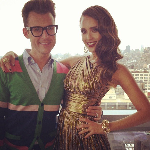 Jessica Alba posed for photos with Brad Goreski before heading to the Met Gala.  Source: Instagram user therealjessicalba