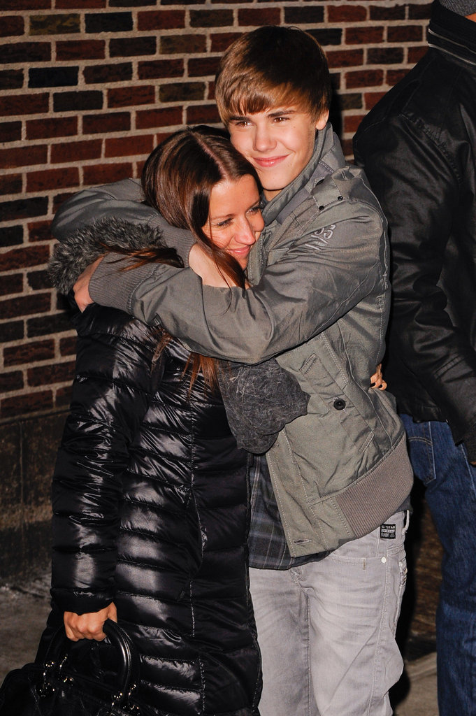 Justin Bieber and his mom, Pattie, shared a hug outside the Late Show studios in January 2011.