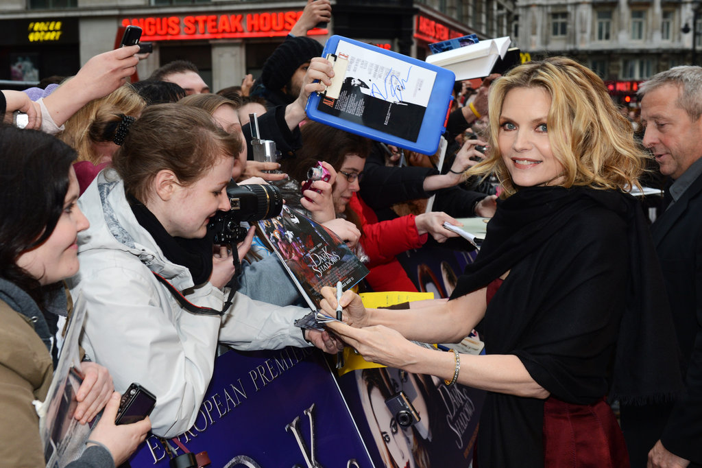 Michelle Pfeiffer signed autographs for fans at London's Empire Leicester Square.