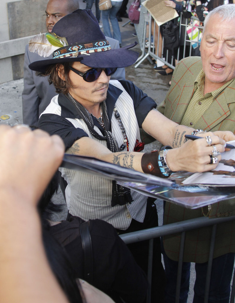 Johnny Depp was happy to say hi to fans at the Jimmy Kimmel Live studios.