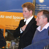 Prince Harry walked through the airport in Washington DC.