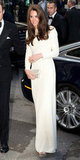 Kate's creamy gown lit up the event at Claridge's hotel in London.