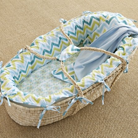 Little House Chevron Teal Moses Basket ($200)