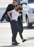 Kristen Stewart's hair blew back in the wind.