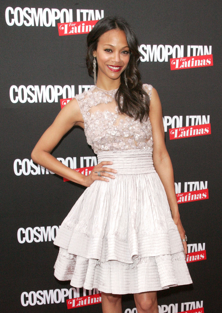 Zoe Saldana gave a smile at the launch party for Cosmopolitan for Latinas in NYC.