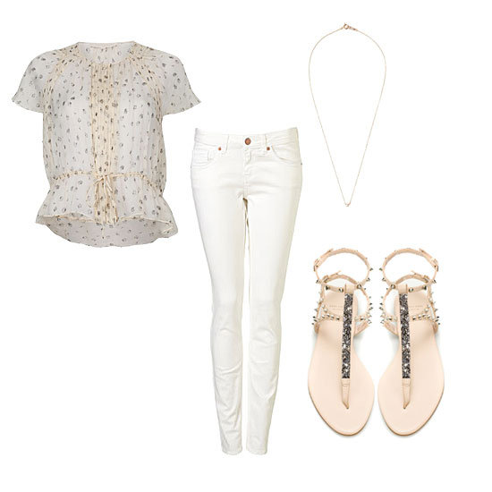 We always reach for our striped tees to style out white denim for Summer, but for an alternative, look to superpretty fabrics, like this chiffon blouse, to give your jeans a more feminine vibe. Add in a pair of embellished flats and a delicate necklace for a sweet look that works as easily at the office as it does for dinner and drinks. Get the Look:  Topshop Moto White Baxter Jeans ($80) Vanessa Bruno Rose-Print Top ($410) Zara Studded Sandal With Gemstones ($129) Jiwon Park Pearl Necklace ($265)
