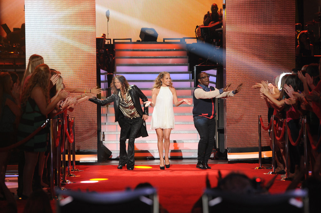 Jennifer Lopez walked out at the top of the show with her fellow judges, Randy Jackson and Steven Tyler.