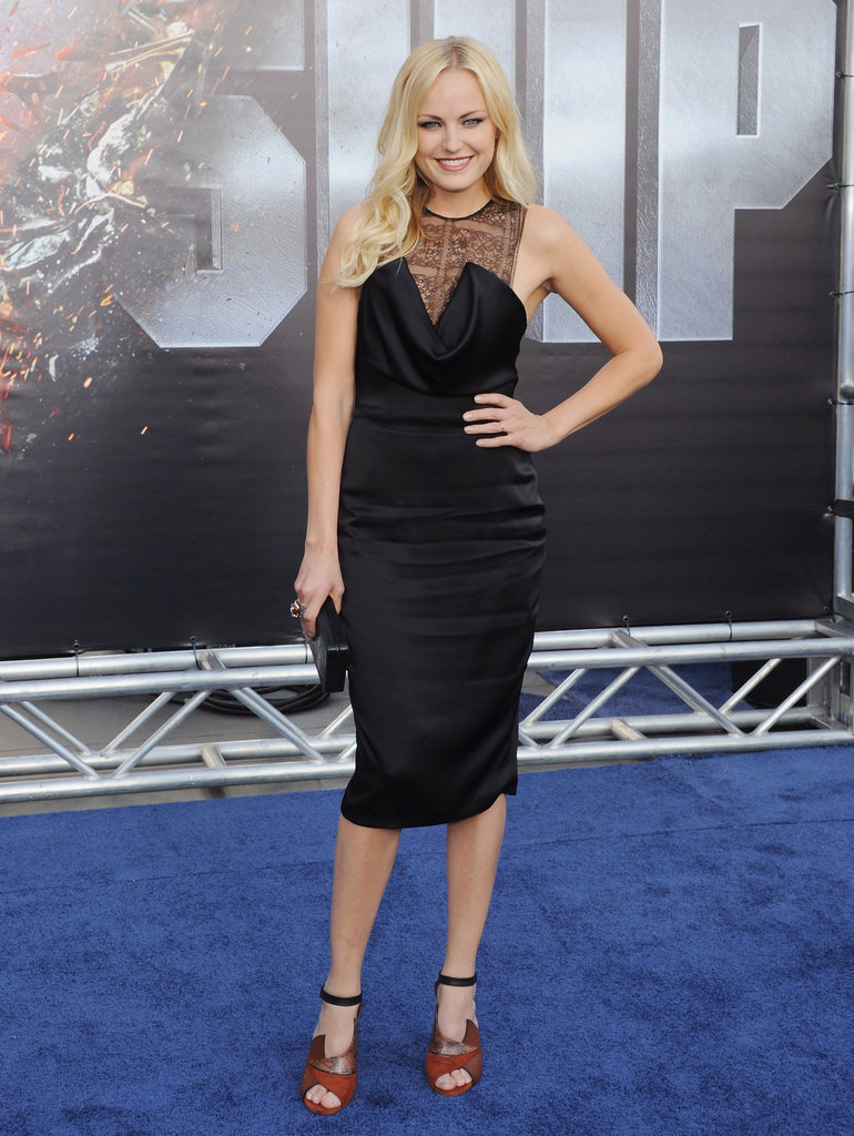 Malin Akerman opted for a sheer-inset Cushnie et Ochs cocktail sheath at the Battleship LA premiere.