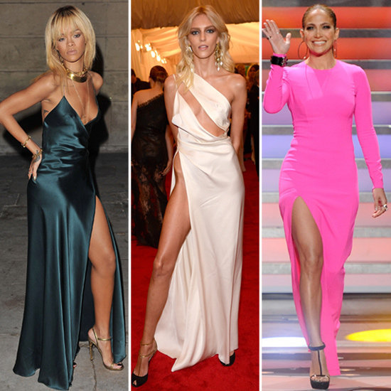 Channel the sexiest celeb craze: thigh-high slit gowns.