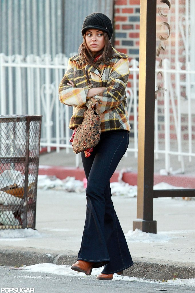 Mila Kunis bundled up on the set of Blood Ties in NYC.