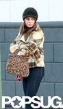Mila Kunis carried a printed bag for a scene being shot on the set of Blood Ties in NYC.