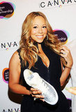 Mariah Carey gave a smile at the Project Canvas Exhibition & Art Gala in NYC.