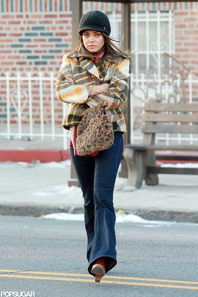 Mila Kunis took a walk on the set of Blood Ties in NYC.