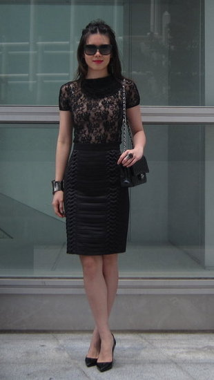 Lace top and Origami Skirt