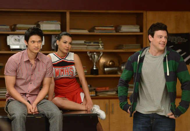 Harry Shum Jr., Naya Rivera, and Cory Monteith on Glee. Photo courtesy of Fox