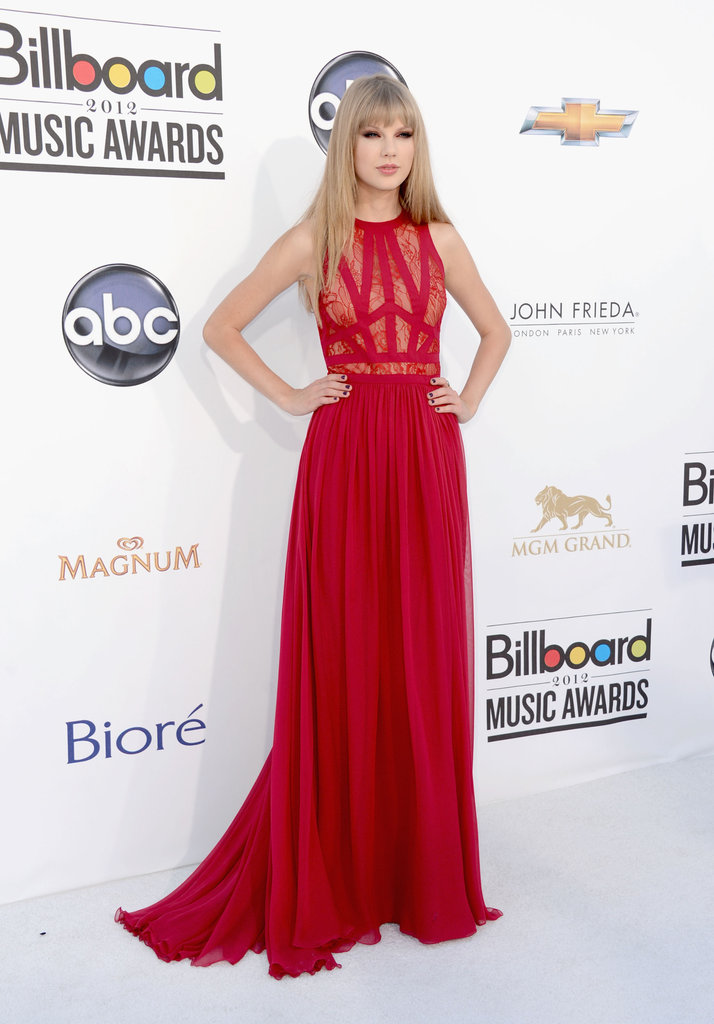 Taylor Swift Rocks Red Lace Elie Saab at Billboard Music Awards