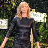 Charlize Theron Leather Dress in Japan Pictures